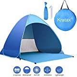 Beach Tent Kratax Pop Up Beach Tent for 1-3 Person, Rated UPF50+ for UV Protection, Waterproof Sun Shelters for Family Camping, Beach, Fishing, Picnic