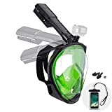 Dekugaa Full Face Snorkel Mask, Adult Snorkeling Mask with Detachable Camera Mount, 180 Degree Panoramic Viewing Upgraded Dive Mask with Safety Breathing System (Green, Medium)