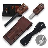 Holtzman's Gorilla Survival Fire Starter Gift Set Emergency Ferro Rod Kit W/Leather Sheath (Dark Brown)