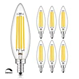 OMAYKEY 8W Dimmable Lengthened LED Candelabra Bulb 2700K Warm White, 80W Equivalent 800 Lumen, E12 Base Vintage Edison B11 Lengthened Candle Clear Glass LED Chandelier Light Bulbs, 6 Pack