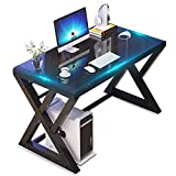 Tempered Glass Computer Desk with X-Shaped Metal Frame, Fashion Modern Design Writing and Study Desk, Work Desk for Home Office (Black39.3inch)