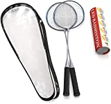 Trained Premium Quality Set of Badminton Rackets, Pair of 2 Rackets, Lightweight & Sturdy, with 5 LED SHUTTLECOCKS, for Professional & Beginner Players Adults and Children, Carrying Bag Included