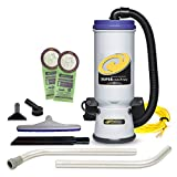 ProTeam Commercial Backpack Vacuum, Super CoachVac Vacuum Backpack with HEPA Media Filtration and Xover Multi-Surface 2-Piece Wand Tool Kit, 10 quart, Corded