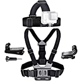 Chest Belt Strap Harness Mount - Camera Head Strap Mount - Adjustable Elastic Strap Head Mount Compatible with GoPro Hero8, 7, 6, 5, 4, Session, 3+, 3, 2, 1 Cameras(Set B)