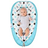 Baby Lounger, Baby Nest and Baby Bassinet, Portable Ultra Soft Breathable Newborn Lounger Cosleeper, Perfect for Co-Sleeping and Traveling (Blue Star)