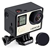 GEPULY Frame Mount Housing Case for GoPro Hero4, Hero3+, Hero 3 with LCD BacPac and Battery Extension Accessories