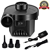 KERUITA Electric Air Pump for Inflatables Air Mattress Pump 110V AC/12V DC Airbed Boat Pool Raft Inflatable Pump with 3 Nozzles Black (ACDC)