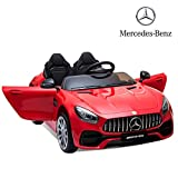 Sinoluck Kids Ride on Car 12V Mercedes Benz GT Kids Electric Car 2 Seater Dual Drive 35W2 Battery Motorized Cars for Kids with Remote Control, Built-in LED Lights, Bluetooth, Horn