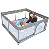 """TODALE Baby Playpen for Toddler, Large Baby Playard, Indoor & Outdoor Kids Activity Center with Anti-Slip Base, Sturdy Safety Play Yard with Soft Breathable Mesh, Playpen for Babies(Gray,50""""×50"""")"""