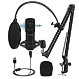 USB Microphone Kit, Piy Painting Cardioid Condenser Microphone Kit with 192KHZ/24Bit Studio Mic Sound Chipset Scissor Arm, Plug & Play Recording Microphone for PC Gaming Streaming Podcasting YouTube