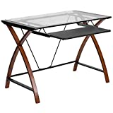 Flash Furniture Glass Computer Desk with Pull-Out Keyboard Tray and Crisscross Frame , Clear/Cherry