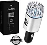 Enoch Car Air Purifier with USB Car Charger 2-Port. Car Air Freshener Eliminate Odor, Dust, Pollen. Removes Cigarette Smoke, Pet and Food Odor, Ionic Ozone. Ionic Car Deodorizer. Color-Silver