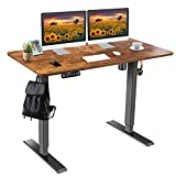 """farexon Electric Standing Desk Adjustable Height, 48""""x 24'' Sit Stand Desk with Double Crossbeam Structure, Four Preset Heights, Current Protection Function, 27''-45'' Lifting Range Stand up Desk"""