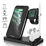Updated Version 4 in 1 Wireless Charger, Apple Watch & AirPods & Pencil Charging Dock Station, Nightstand Mode for iWatch Series 5/4/3/2/1, Fast Charging for iPhone 11/11 Pro Max/XR/XS Max/Xs