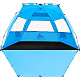 NXONE XL Pop Up Beach Tent, Deluxe Sun Shade Shelter for 4 Person, UPF 50+ Protection, Windproof Beach Shade, Extendable Floor with 3 Ventilating Windows Plus Carrying Bag, Stakes and Guy Lines