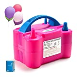 AGPTEK Electric Air Balloon Pump, 110V 600W Rose Red Portable Dual Nozzle Inflator/Blower for Party Decoration