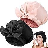 2 Pieces Shower Caps Adjustable Bow-knot Bath Hair Caps Reusable Waterproof Turban Shower Hat Bath Cap for Women Girl Beauty Hair Spa Bathing Home Travel (Pink, Black)