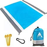AISPARKY Beach Blanket, Beach Mat Outdoor Picnic Blanket Large Sandproof Compact for 4-7 Persons Water Proof and Drying Mats Nylon Pocket Picnic for Outdoor Travel (Gray White(78' X 81'))