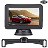 LeeKooLuu HD 720P Backup Camera and Monitor Kit OEM,Hitch Camera for Cars,Trucks,Vans,Campers Waterproof Super Night Vision Rear/Front View Camera One Power System Reverse/Continuous Use DIY Grid Line