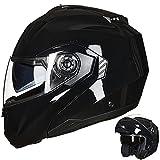 ILM Motorcycle Helmets for Adults Dual Visor Enlarged Air Vents Modular Full Face Cascos para Motos Men Women DOT(Gloss Black,Medium)