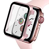 Ritastar Bumper Case for Apple Watch Screen Protector 40mm with Metal Cover,HD Clear High Sensitive Screen Response,Bubble-Free,Protective PET Film,Full Coverage for iWatch Series 5 4 Women,Rose Pink