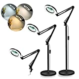LANCOSC Magnifying Floor Lamp, 8-Diopter 5X Real Glass Lens, 3 Color Modes LED Magnifier Light with Clamp, Standing Lamp with Adjustable Swivel Arm for Reading, Crafts, Close Work - Black