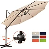 Patio Offset Cantilever Umbrella 10-Feet Outdoor Patio Hanging Umbrella,360 Degree Rotation with Cross Base (10 FT, Beige)