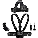 Wealpe Chest Mount Harness Head Strap Mount Compatible with GoPro Hero 9, 8, 7, Max, Fusion, Hero (2018), 6, 5, 4, Session, 3+, 3, 2, 1, DJI Osmo, Xiaomi Yi Cameras