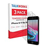 TalkWorks iPhone 8 Screen Protector (Also Fits iPhone 7, 6S, 6) 3 Pack Tempered Glass Film Durable 0.33mm 9H Hardness, Case Compatible, Smudge, Scratch, Crack, Shatter Proof, HD Touch Clarity