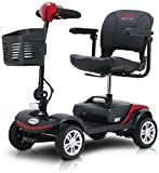Metro Mobility USA Compact Travel Electric Power 4 Wheel Scooter (Red)