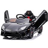 Kidzone Kids Electric Ride On 12V Licensed Lamborghini Aventador SV Battery Powered Sports Car Toy W/ 2 Speeds, Parent Control, Sound System, LED Headlights & Hydraulic Doors, Black