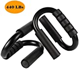 KANSOON  Portable Steel Push Up Bars Handles for Women and Men-Pushup Stands for Floor-Metal Push Up Bars Home Gym Exercise Equipment with Foam Padded Grips (Metallic Black)
