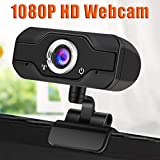 1080P Webcam with Microphone, Computer Camera Web Camera PC Webcam for Video Calling Recording Conferencing 5 Megapixel Black
