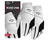 Callaway Golf Men's Weather Spann Premium Synthetic Golf Glove (Large, Two-Pack, White, Worn on Left Hand)