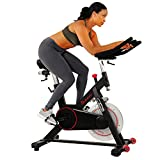 Sunny Health & Fitness Magnetic Belt Drive Indoor Cycling Bike with 44 lb Flywheel and Large Device Holder, Black, Model Number: SF-B1805