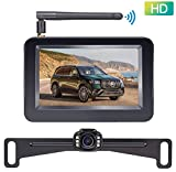 LeeKooLuu F08 HD Wireless Backup Camera and 4.3'' Monitor System for Cars/ATVs/SUVs/UTVs/Can-Am IP69 Waterproof 6 LED Light Night Vision Rear/Front View with Grid Lines DIY Setting