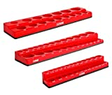 ARES 60035-3-Piece Red SAE Magnetic Socket Organizer Set - Includes 1/4-Inch, 3/8-Inch, and 1/2-Inch Socket Holders - Holds Standard Size and Deep Size Sockets - Keeps Your Tool Box Organized