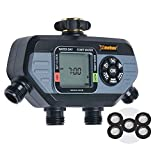 Melnor 65038-AMZ HydroLogic 4-Zone Digital Water Timer with 5 Stainless Steel Filter Washers Set, Amazon Bundle