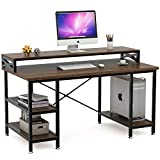 Tribesigns Computer Desk with Storage Shelves, 55 inch Large Rustic Office Desk Computer Table Studying Writing Desk Workstation with Hutch for Home Office (Retro Brown)