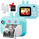 Instant Camera for Kids Digital Camera for Girls Toddler Camera with Print Paper, 24MP Kids Video Camera Child Selfie Camera Toy Camera Kids Camcorder with 2.4 Inch Screen and 32GB TF Card (Sky Blue)