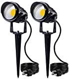 SUNVIE Outdoor Landscape LED Lighting 12W Waterproof Garden Lights COB Led Spotlights with Spiked Stand for Lawn Decorative Lamp US 3- Plug 3000K Warm White (2 Packs)