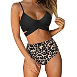 RUUHEE Women Criss Cross High Waisted String Floral Printed 2 Piece Bathing Suits (M(US Size 6-8), Leopard Printed)
