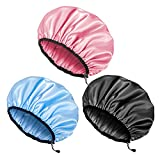 Auban Shower Cap for Women, Adjustable Reusable, Extra Large, Double-Layer Waterproof Bathing cap, Waterproof Exterior, EVA Lining, Hair Cap for All Hair lengths, 3 Colors