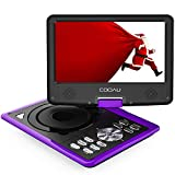 COOAU Portable DVD Player 11.5' with Game Joystick, Swivel HD Screen, Support Multi-Format, Region Free, Long Lasting Battery, Support AV-in/AV-Out/SD/USB, Purple