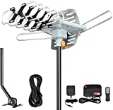 Outdoor Amplified Digital HDTV Antenna - 150 Mile Motorized 360 Degree Rotation- Amplified HD TV Antenna for 2 TVs Support UHF/VHF 4K 1080P with Mounting Pole & 33 ft RG6 Coax Cable