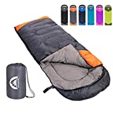 Sleeping Bag 3 Season Warm & Cool Weather - Summer, Spring, Fall, Lightweight,Waterproof Indoor & Outdoor Use for Kids, Teens & Adults for Hiking,Backpacking and Camping (Grey Orange, Single)