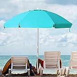 KITADIN 6.5FT Beach Umbrella Portable Outdoor Patio Sun Shelter with Sand Anchor, Fiberglass Rib, Push Button Tilt and Carry Bag (Turquoise)