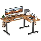 FEZIBO Triple Motor L-Shaped Electric Standing Desk, 63 inches Height Adjustable Stand up Corner Desk, Sit Stand Workstation with Splice Board, Black Frame/Rustic Brown Top