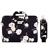 MOSISO Laptop Shoulder Bag Compatible with 13-13.3 inch MacBook Pro, MacBook Air, Notebook Computer, Pattern Briefcase Sleeve with Trolley Belt, Apricot Peony