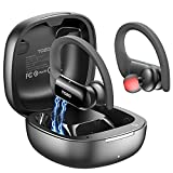 TOZO T5 Bluetooth Headphones True Wireless Earbuds Sport Earphones Touch Control Headset with Wireless Charging,Bass Stereo,Sweatproof for Running, Gym, Workout